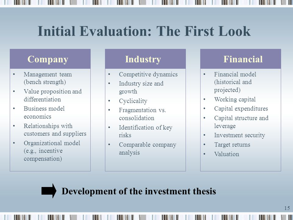 Initial Evaluation: The First Look