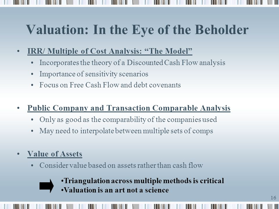 Valuation: In the Eye of the Beholder