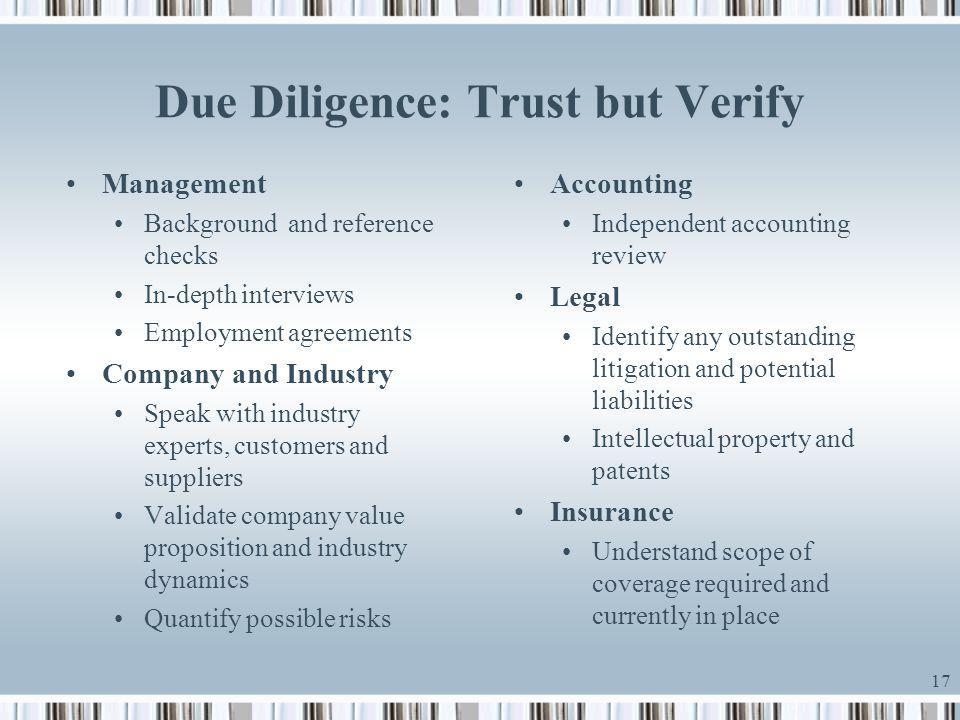 Due Diligence: Trust but Verify