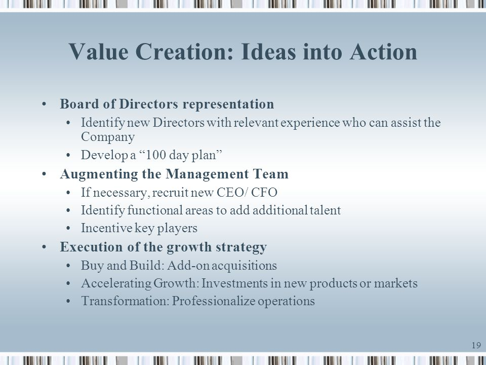 Value Creation: Ideas into Action