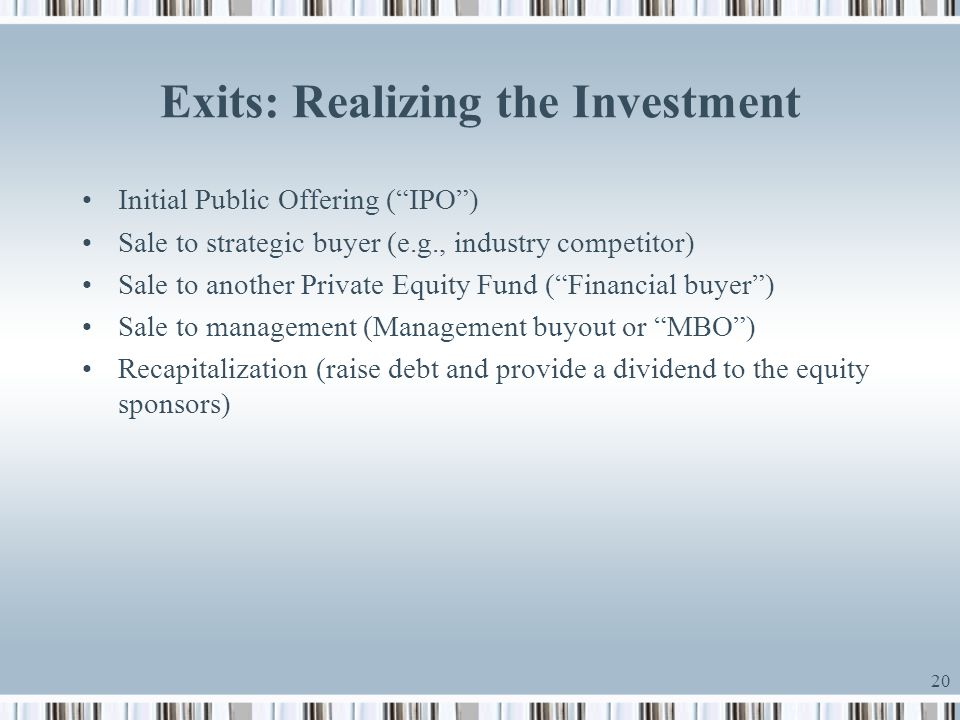 Exits: Realizing the Investment