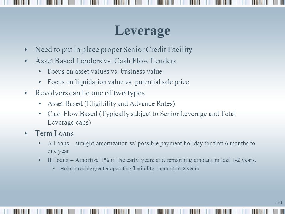 Leverage Need to put in place proper Senior Credit Facility