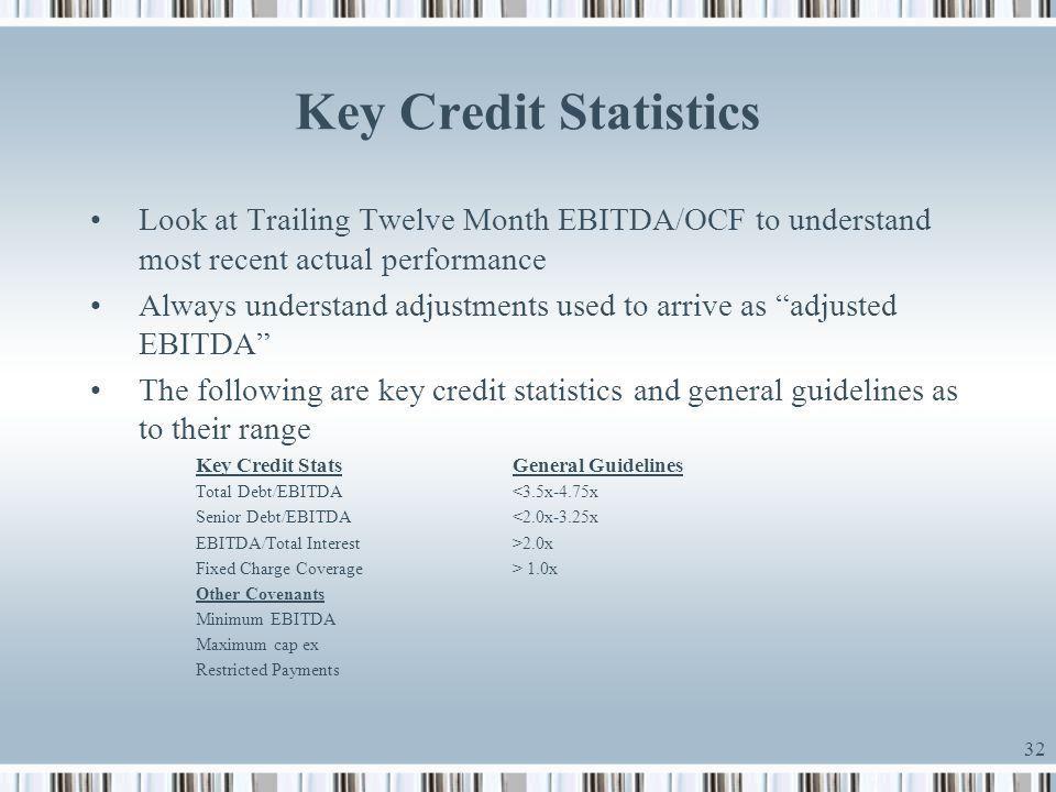 Key Credit Statistics Look at Trailing Twelve Month EBITDA/OCF to understand most recent actual performance.