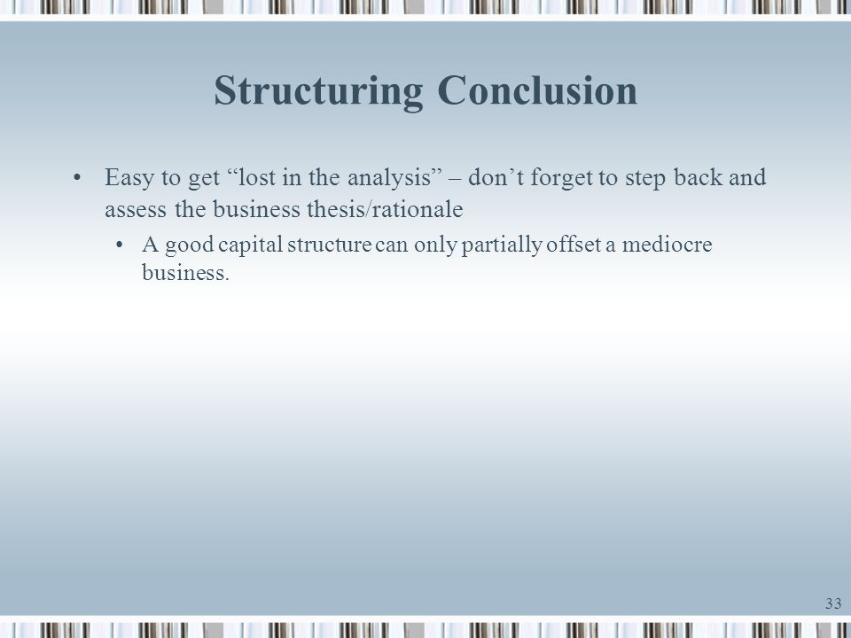 Structuring Conclusion