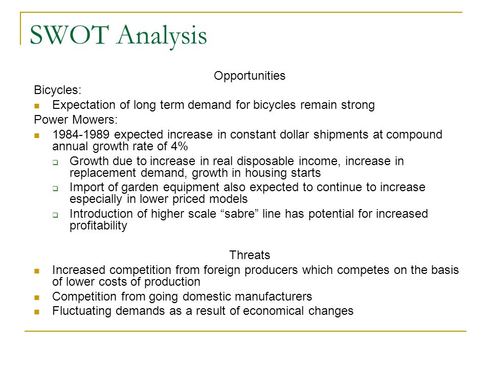SWOT Analysis Opportunities Bicycles: