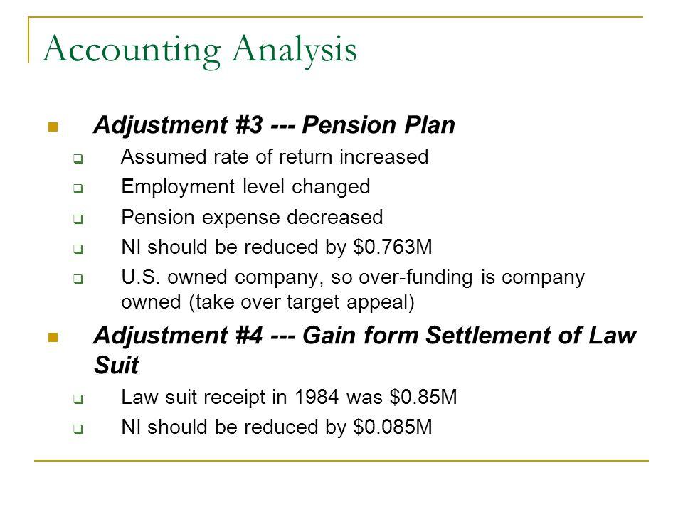Accounting Analysis Adjustment #3 --- Pension Plan