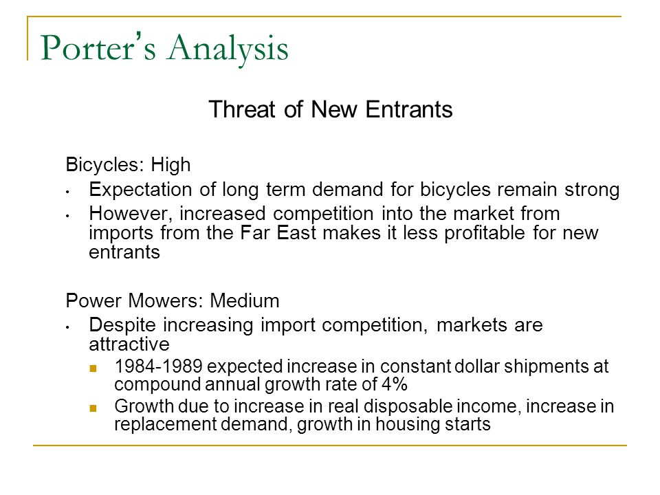 Porter's Analysis Threat of New Entrants Bicycles: High