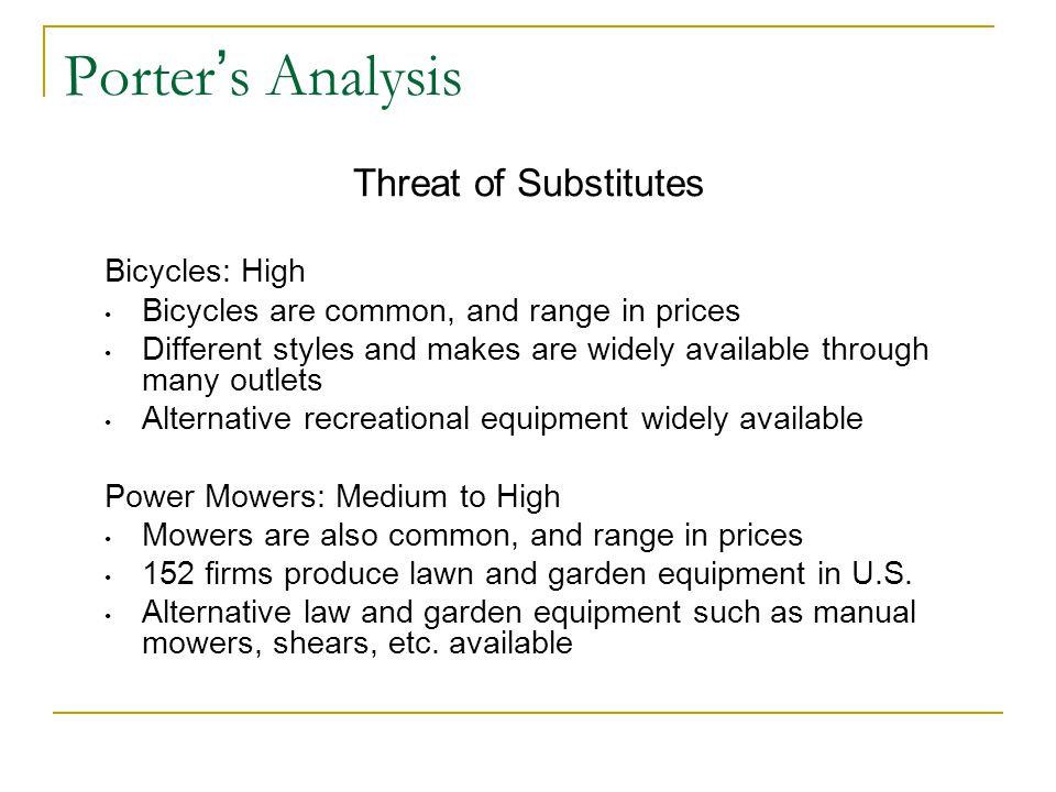 Porter's Analysis Threat of Substitutes Bicycles: High