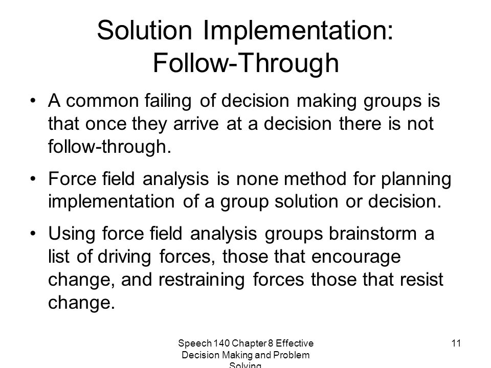 Solution Implementation: Follow-Through