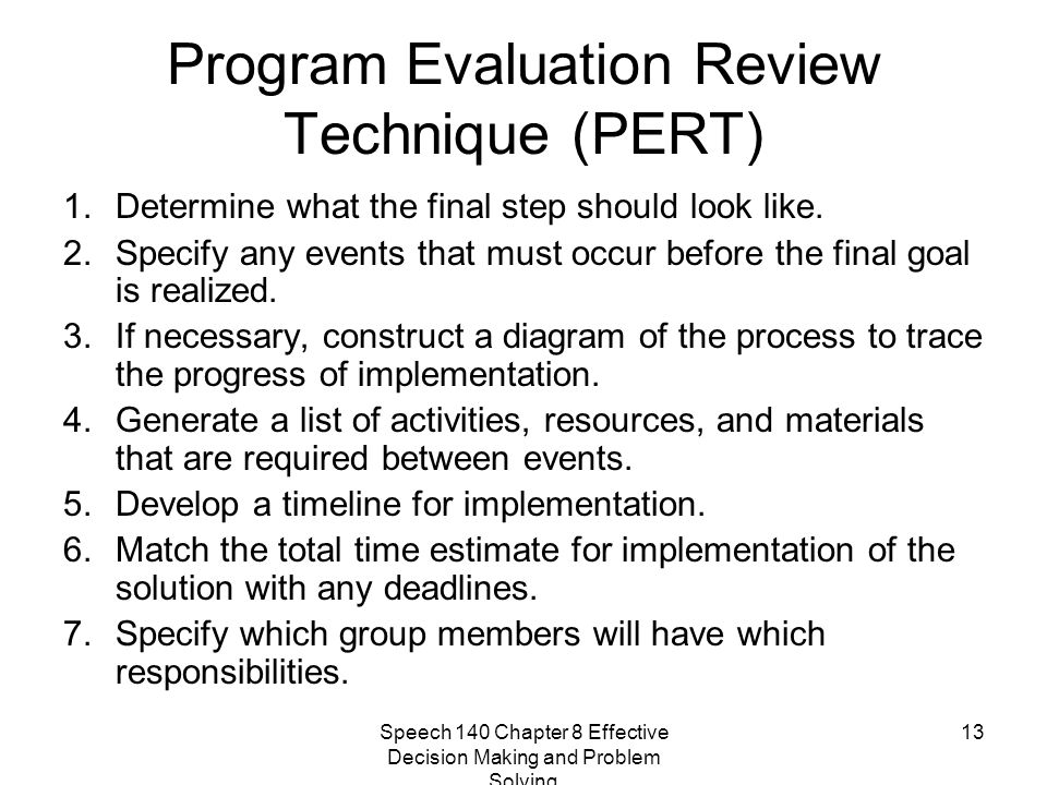 Program Evaluation Review Technique (PERT)