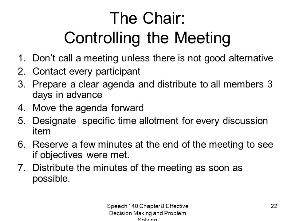 The Chair: Controlling the Meeting
