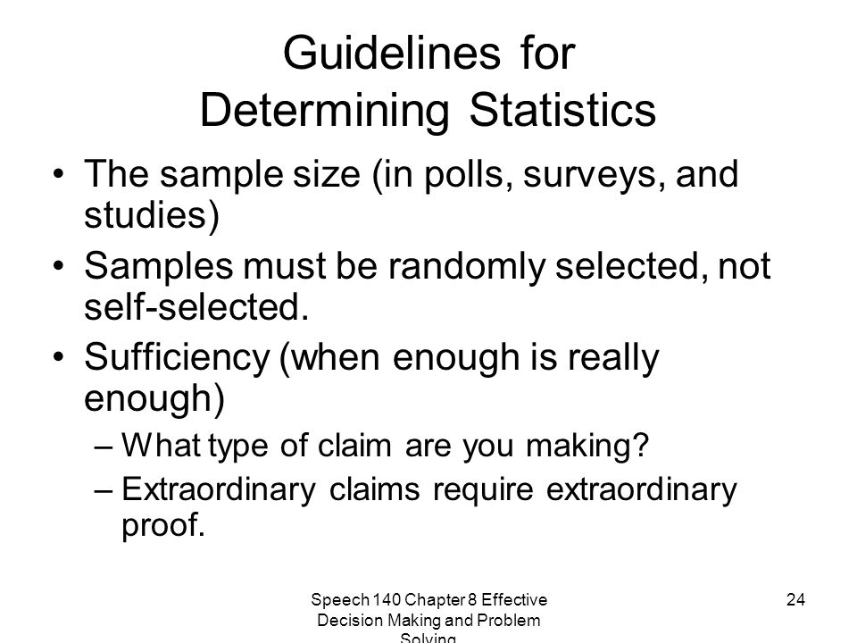 Guidelines for Determining Statistics