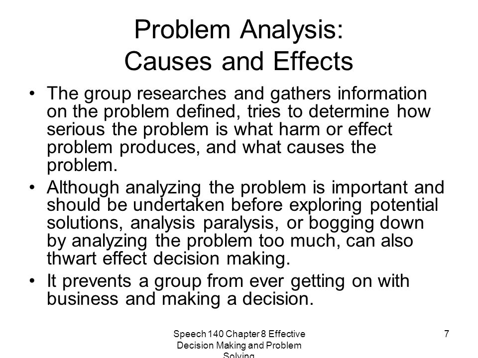 Problem Analysis: Causes and Effects