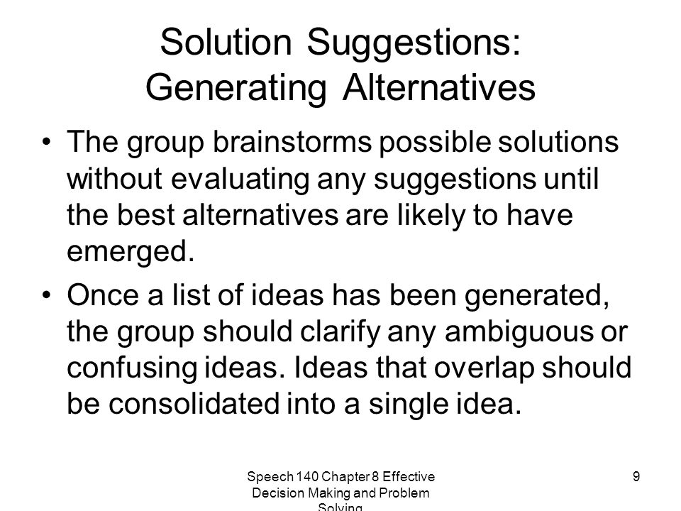 Solution Suggestions: Generating Alternatives