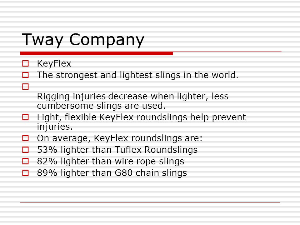 Tway Company KeyFlex The strongest and lightest slings in the world.