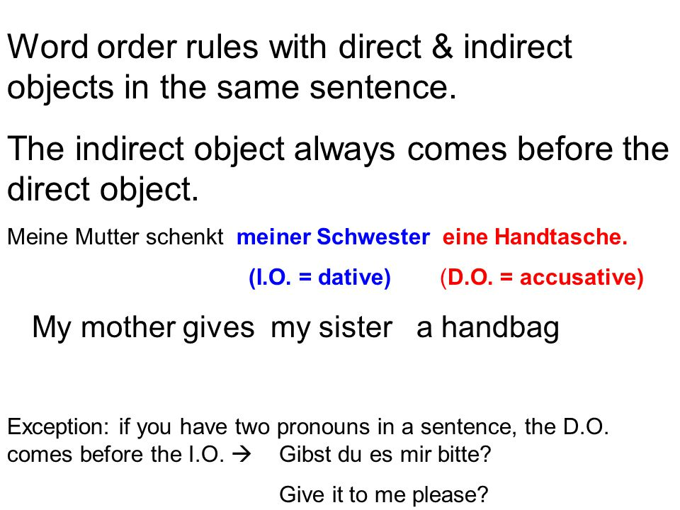 Word order rules with direct & indirect objects in the same sentence.