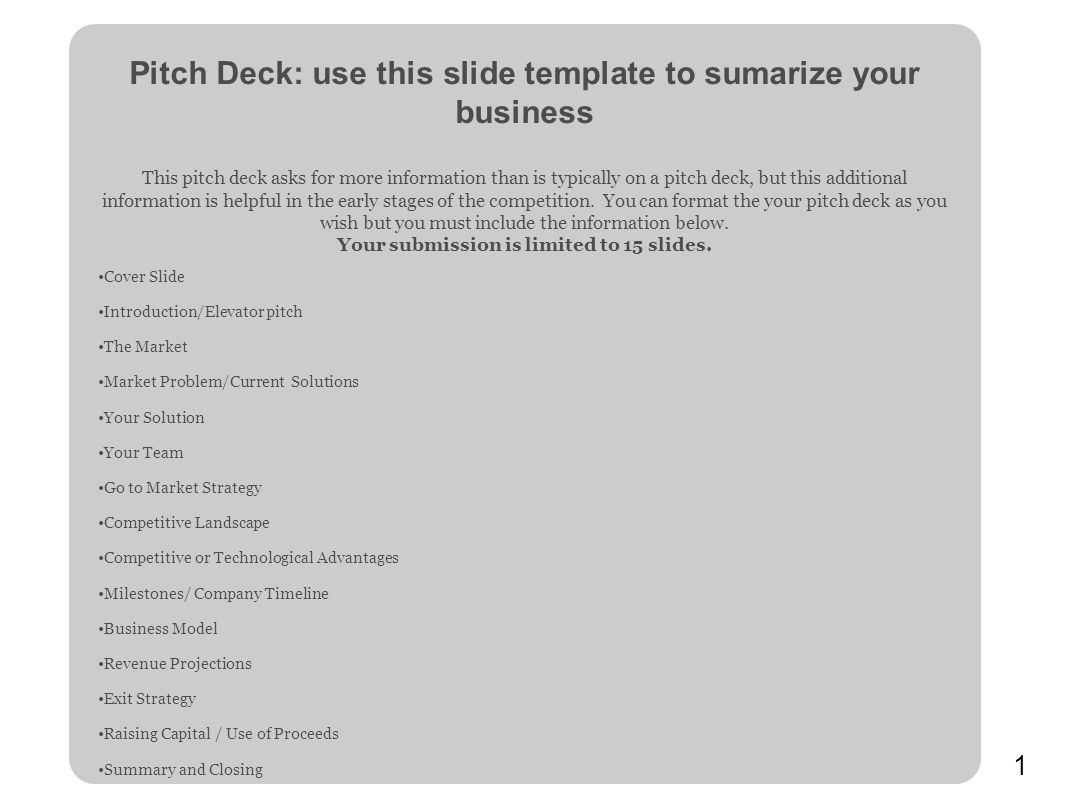 Pitch Deck: use this slide template to sumarize your business