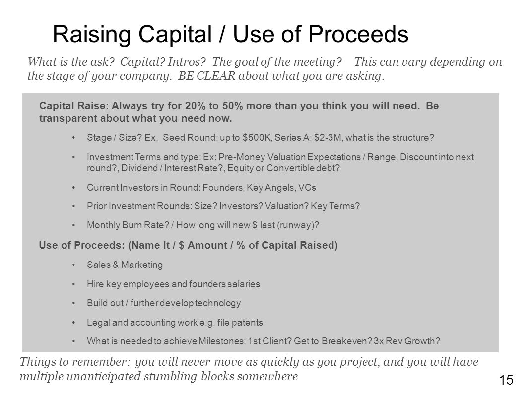 Raising Capital / Use of Proceeds
