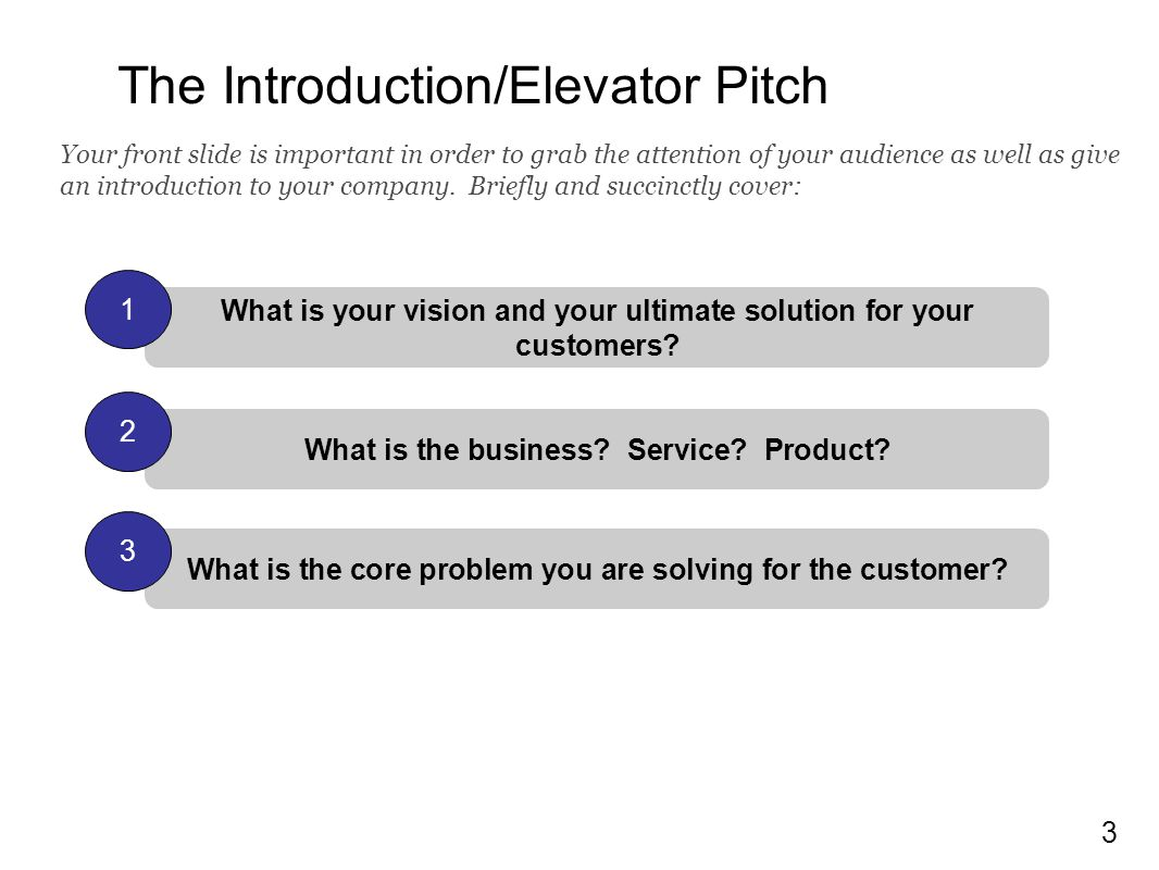 The Introduction/Elevator Pitch