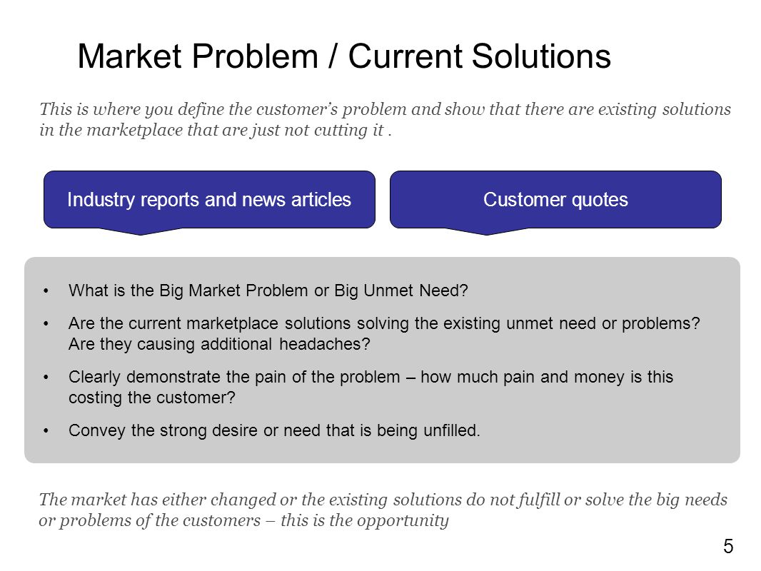Market Problem / Current Solutions