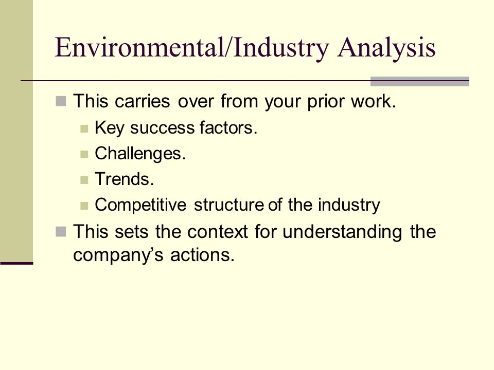 Environmental/Industry Analysis