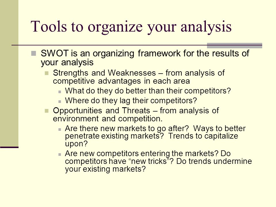 Tools to organize your analysis