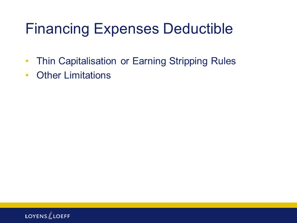 Financing Expenses Deductible