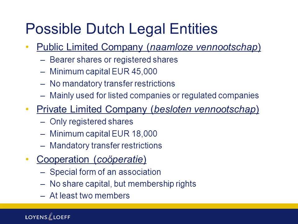 Possible Dutch Legal Entities