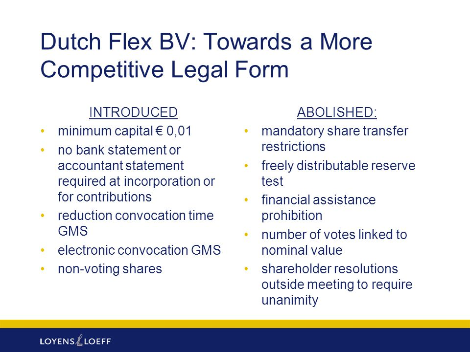 Dutch Flex BV: Towards a More Competitive Legal Form