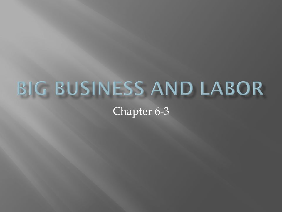 Big Business and Labor Chapter 6-3