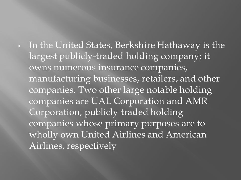 In the United States, Berkshire Hathaway is the largest publicly-traded holding company; it owns numerous insurance companies, manufacturing businesses, retailers, and other companies.