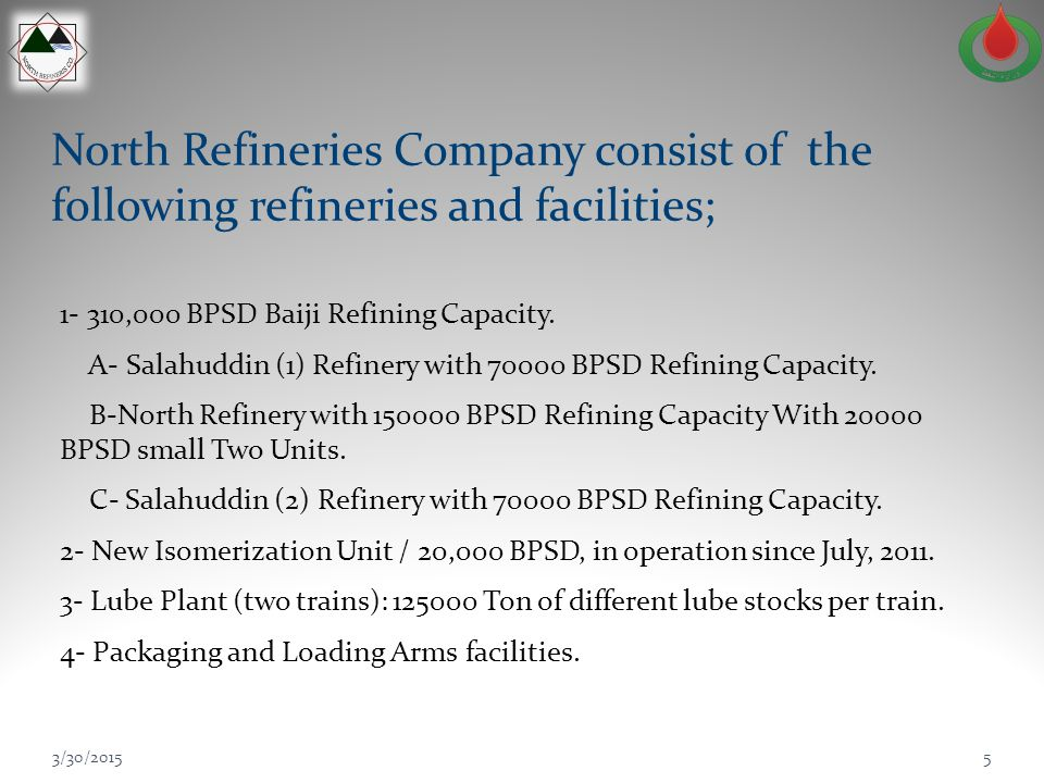 North Refineries Company consist of the following refineries and facilities;