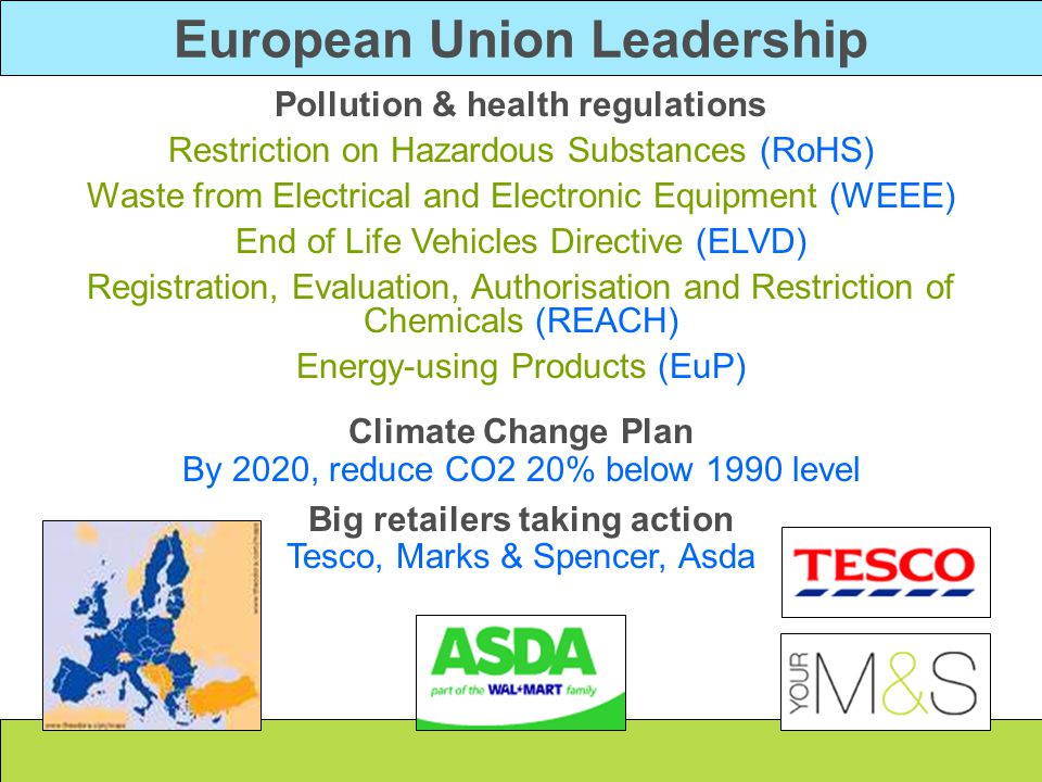 European Union Leadership Pollution & health regulations
