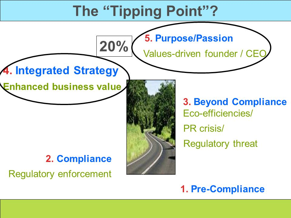 The Tipping Point 20% 5. Purpose/Passion 4. Integrated Strategy