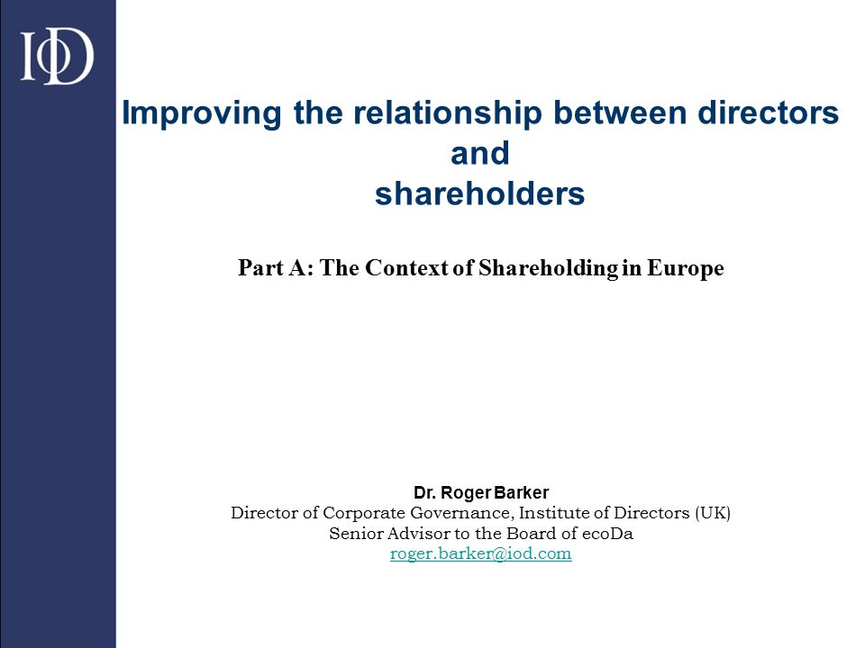 Improving the relationship between directors and shareholders