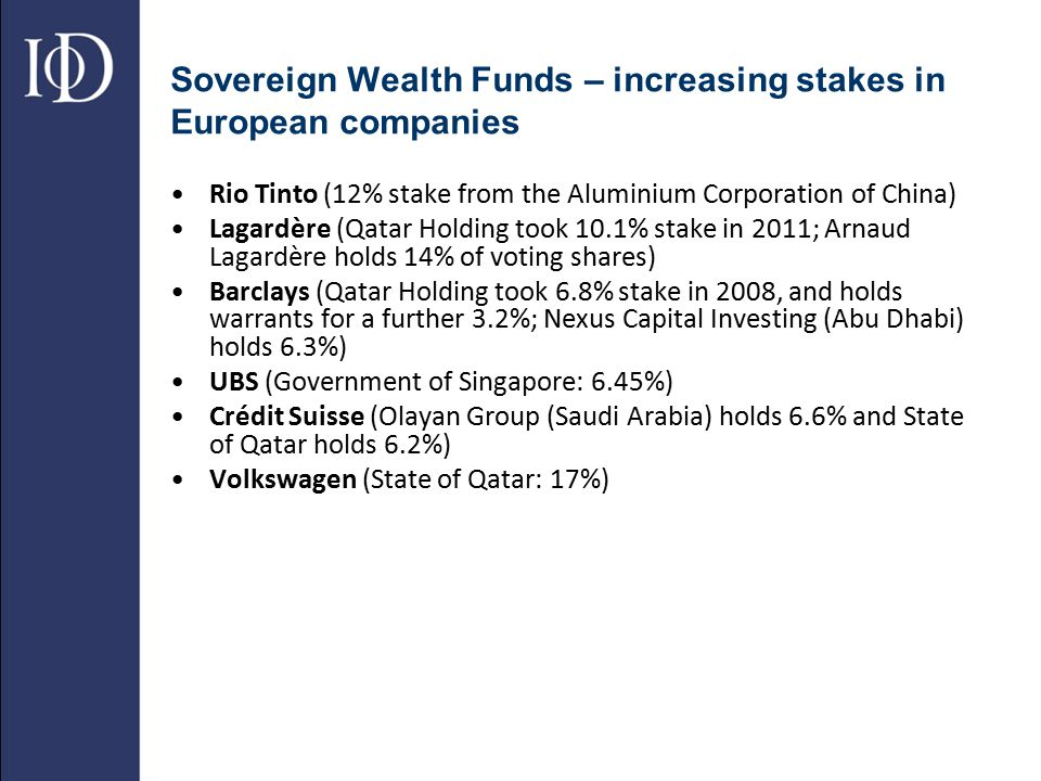 Sovereign Wealth Funds – increasing stakes in European companies