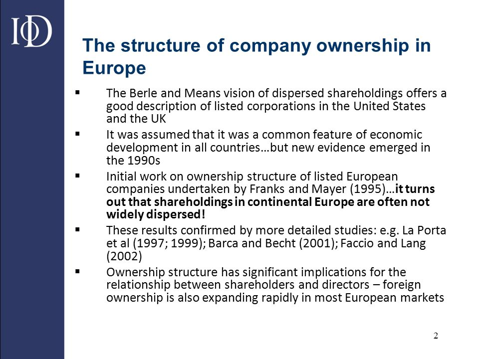 The structure of company ownership in Europe