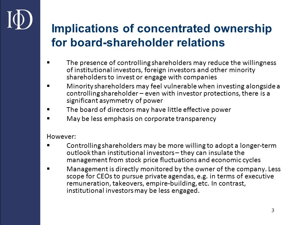 Implications of concentrated ownership for board-shareholder relations