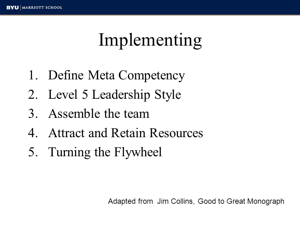Implementing Define Meta Competency Level 5 Leadership Style