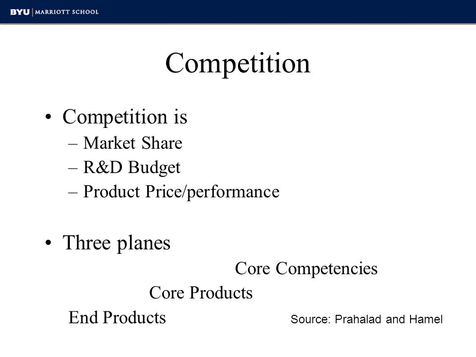 Competition Competition is Three planes Market Share R&D Budget