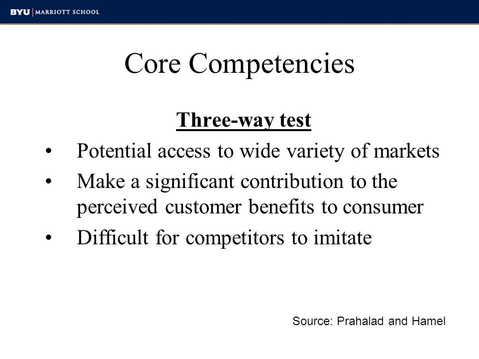 Core Competencies Three-way test