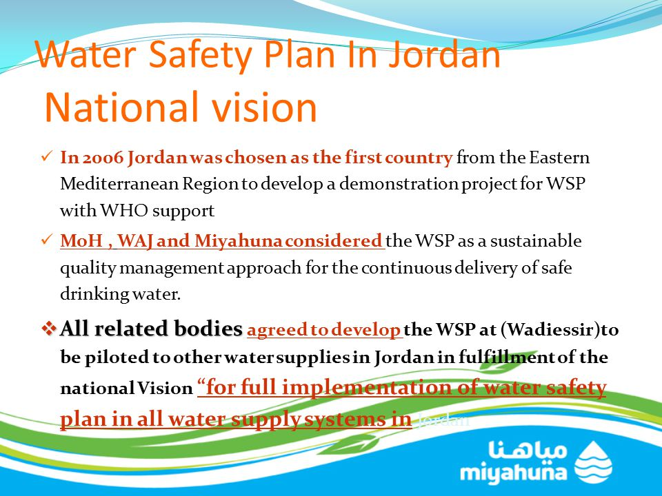 Water Safety Plan In Jordan National vision