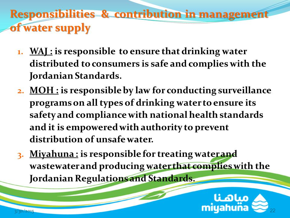 Responsibilities & contribution in management of water supply