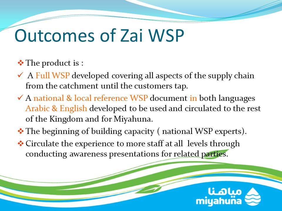 Outcomes of Zai WSP The product is :
