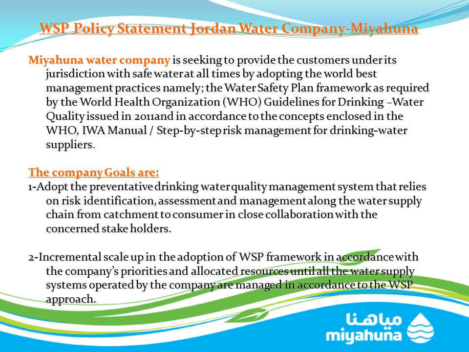 WSP Policy Statement Jordan Water Company-Miyahuna