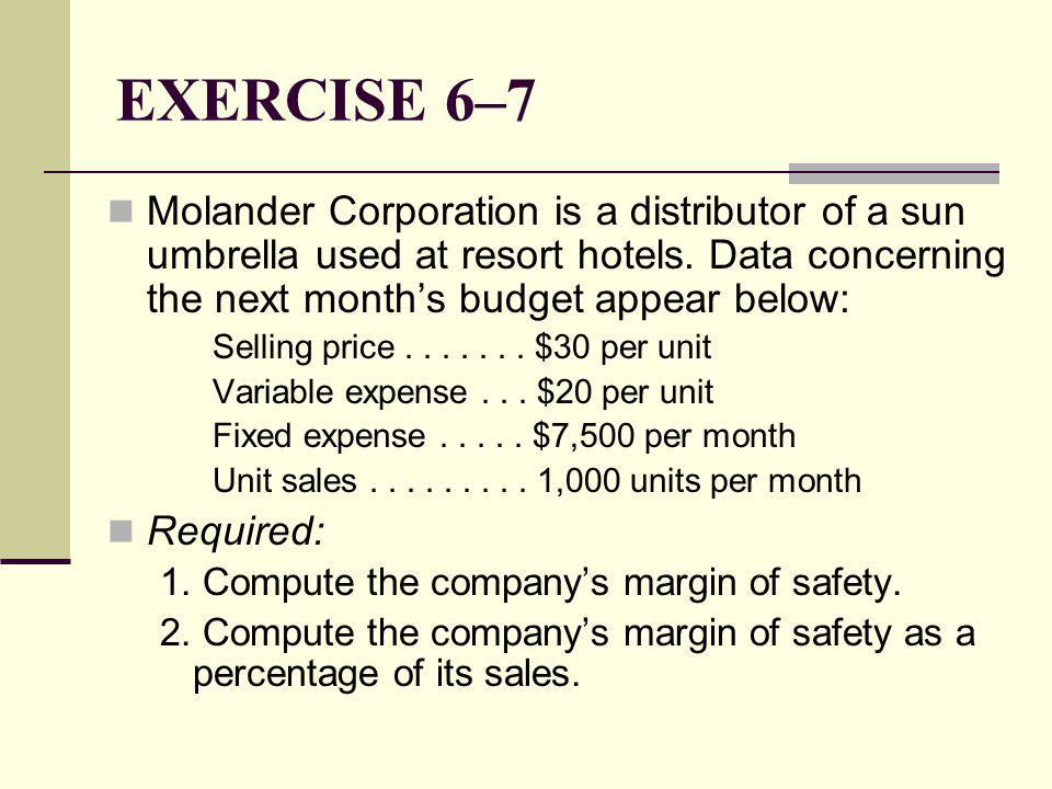 EXERCISE 6–7 Molander Corporation is a distributor of a sun umbrella used at resort hotels. Data concerning the next month's budget appear below:
