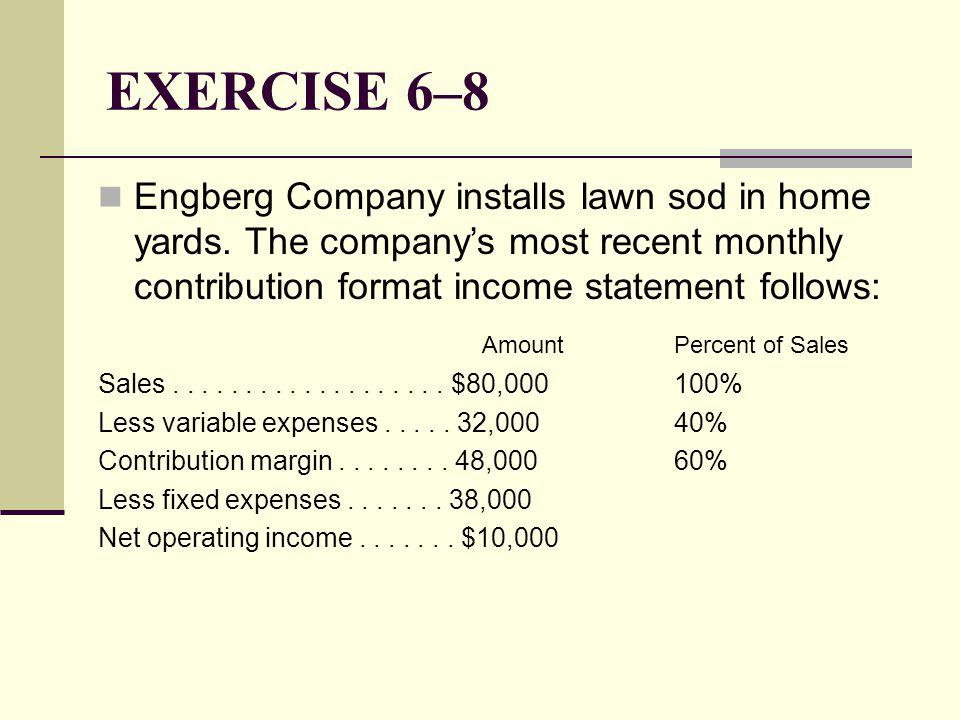 EXERCISE 6–8 Engberg Company installs lawn sod in home yards. The company's most recent monthly contribution format income statement follows: