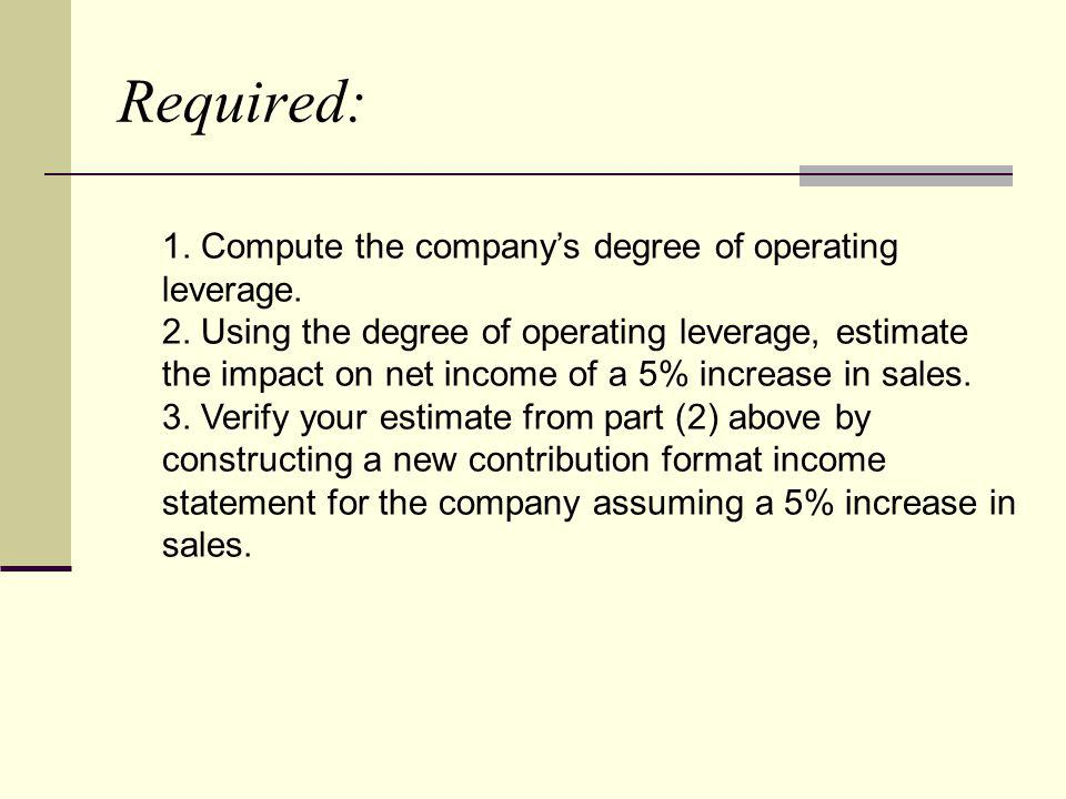 Required: 1. Compute the company's degree of operating leverage.
