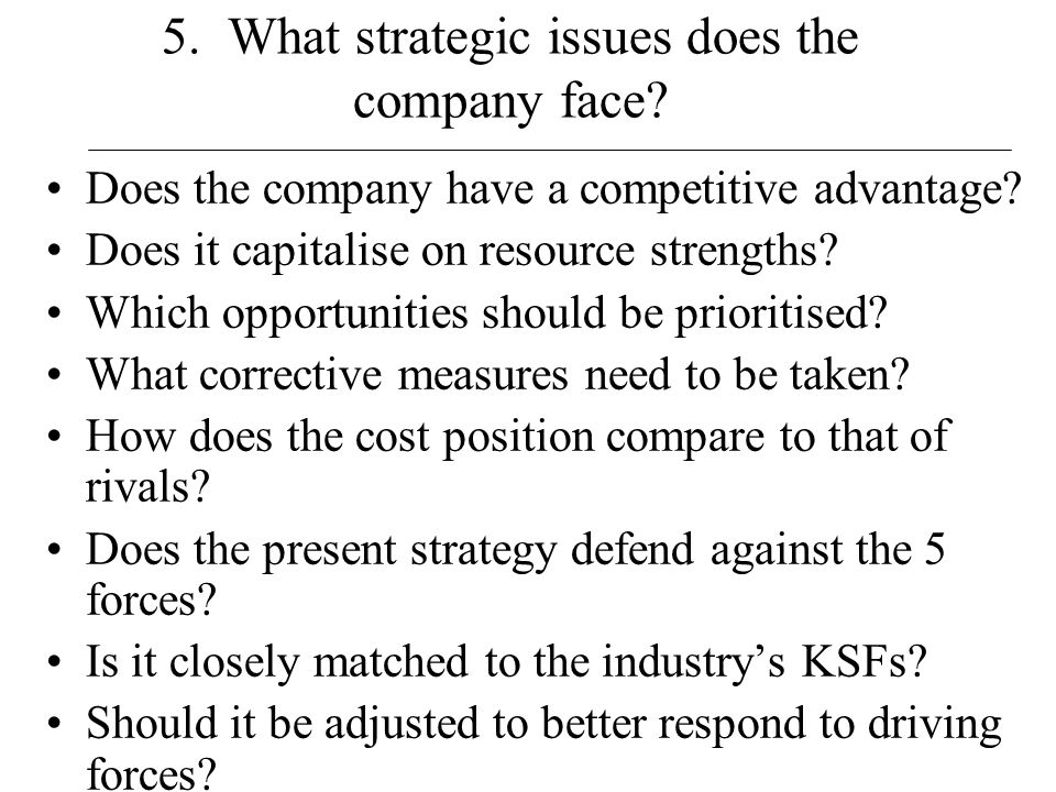 5. What strategic issues does the company face
