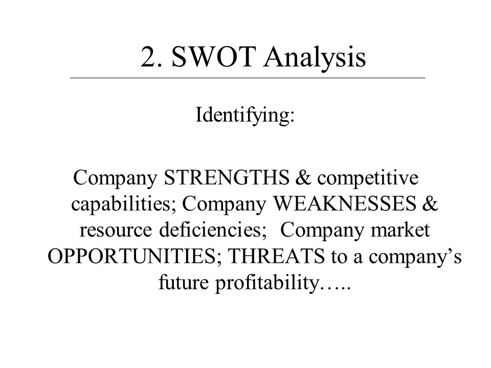 2. SWOT Analysis Identifying: